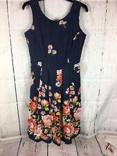 Lands End Navy Linen Floral Dress 8P EUC