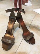 Pelle Moda Sandals Rhinestone Shoes Pumps Heels SZ 8.5M Open Toe Strappy Brown