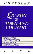 1986 Chrysler Lebaron Town & Country Owners Manual Guide Operator Book Fuses