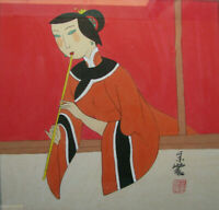MO NONG Gouache/Ink Painting 'Woman w Bamboo Flute' CHINESE MODERNIST ZHAN YIAN