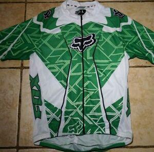 Fox Cycling Jersey Mens Large Mountain Road Bike Full Zip Green White