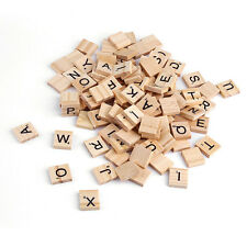 100 WOODEN SCRABBLE TILES BLACK LETTERS NUMBERS FOR KIDS CRAFTS WOOD ALPHABETS