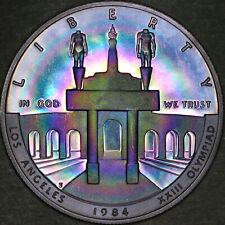 1984-S Olympic Commem Silver Dollar $1 - Proof - Colorful Rainbow Toning
