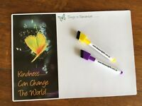 A4 Butterfly Kindness Fridge Magnet Whiteboard Office Reminder Memo Notes +2penC