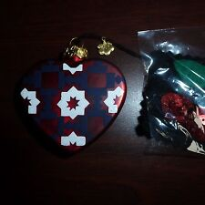 Blown Glass Christmas Tree Ornament Red White & Blue Heart Quilter Felt Pouch
