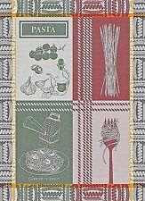 GARNIER THIEBAUT AL DENTE ROSSO E VERDE (PASTA) FRENCH WOVEN KITCHEN / TEA TOWEL