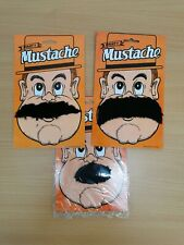 set of 3 Black Self Adhesive Costume Fancy Stylish Party Fake Mustache Moustache