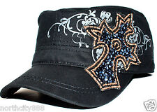 Crystal Womens Black Cotton Rhinestone Cross Baseball Military Cadet Cap Hat