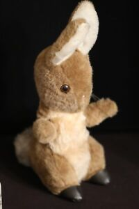 """Eden 14"""" Vintage Bunny Rabbit in Brown Slippers Plush Toy Doll"""