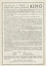 W7684 KING Motor Car Company - Pubblicità del 1920 - Old advertising