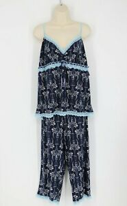 Delicats Womens Lounge Sleepwear Three Piece Set Size XL & Large Navy Blue