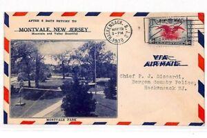 USA PICTORIAL Cover 1938 *Montvale Park* Hackensack NJ Air Mail {samwells}VV435