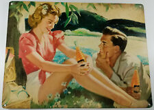 NESBITT'S ORANGE SODA POP PICNIC COUPLE LOVERS PICNIC HEAVY DUTY METAL ADV SIGN