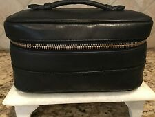 AUTH CHANEL CALFSKIN BLACK LEATHER  BAG/CASE MAKEUP POUCH VANITY
