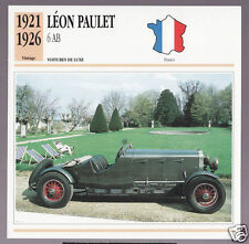 1921-1926 Leon Paulet 6 AB Car Photo Spec Sheet Stat Info Stat French Atlas Card