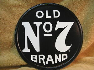 Jack Daniels Tin Metal Sign Round Old #7 Liquor Black