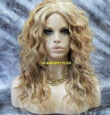 Human Hair Blend Monofilament Center Part Long Curly Blonde Lace Front Full Wig