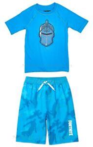 FORTNITE Size 8, 14-16 Boys Swim Trunks Rash Guard Shirt Swimsuit Set Medium -XL