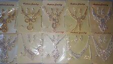 Joblot 10 pcs Diamante sets - Necklace & Earrings Wedding Prom wholesale lot F
