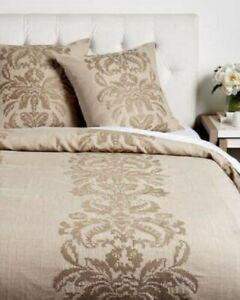 Ann Gish Queen Jacquard Cross Stitch Linen Duvet Cover Taupe NIP
