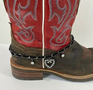 Decorative Boot Shoe Bracelet Jewelry Bling Rhinestones and Leather Shoe Charms
