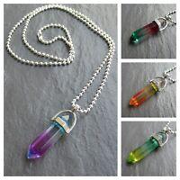 "Crystal Point Pendant Necklace Rainbow Stone Girls Hot Fashion 14""-24"" Chain UK"