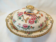 F Winkle Co England Whieldon Ware Vintage PHEASANT Large Covered Serving Bowl