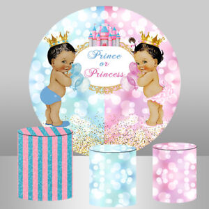 Gender Reveal Round Backdrop Circle Prince or Princess Background Baby SHower