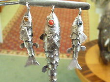 Sterling Peru Made Old Articulated Dangle 3 Large Fish Pin Brooch Stones In Eyes