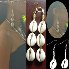 Womens Silver Plated Cowrie Shell Natural Pendant Drop Earrings Hook Ear Jewelry
