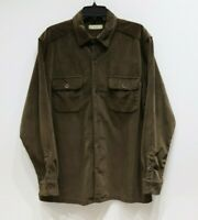True Grit luxe embossed square shirt long sleeve button up brown mens size Large