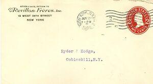 Envelope Revillon Freres New York NY to Cobleskill NY 6/27/1908