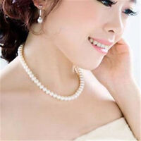Women White Choker Chunky Statement Bib Necklace Fashion A String Pearl Jewelry