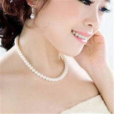 Fashion Women White Faux Pearl Beads Choker Chunky Bib Necklace Wedding Jewelry