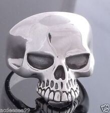 925 STERLING SILVER KEITH RICHARD SKULL BIKER MEN´S RING US sz 15
