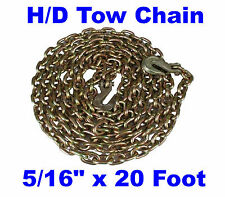 "Pair (2) 5/16"" x 20 Ft  Grade 70 4700# Truckers Chain Tow with Clevis Grab Hooks"