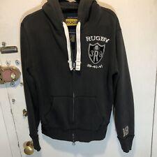 Rugby Ralph Lauren Mens Sz M Full Zip Hoodie Sweatshirt Gray Skull and Bone Rare