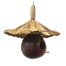 Vie Naturals Bird House, Coconut Round, With Straw Roof ,Approximately 30cm Hang
