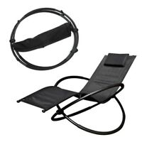 Black Breathable Steel Louismoon Rocker Lounger Outdoor Garden Chair with Pillow