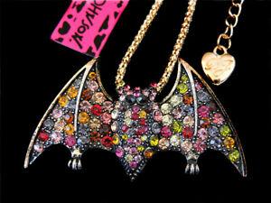 Betsey Johnson Multi-Color Crystal Cute Bat Charm Pendant Necklace Chain