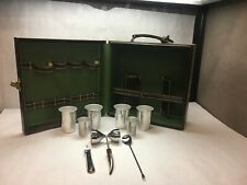VINTAGE Portable BAR SET Case BROWN Faux LEATHER Cups STIR Stick BOTTLE Opener