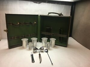 VINTAGE Portable BAR SET Case BROWN Faux LEATHER Cups STIR Stick BOTTLE Opener