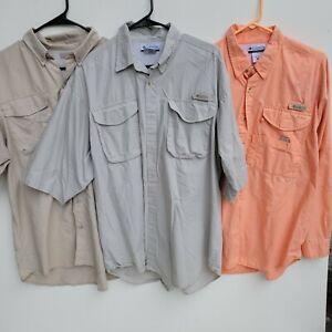 Columbia PFG Shirts LOT OF 3 Mens M Medium Fishing Sun Shirts