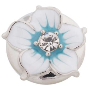 Silver Blue White Enamel Flower 20mm Snap Charm For Ginger Snaps Noosa Jewelry