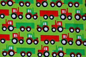 hellgrüner Jersey mit Fahrzeugen Traktor Trekker 50 cm x 160 cm Nähen Stoff