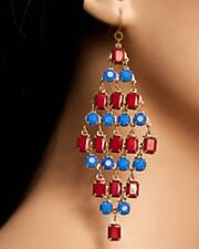 NEW..EARRING SALE!! Sassy Blue & Red Stone Chandelier Dangle Earrings..10cm