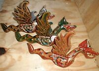 "Dragon Flying Bali Naga Hanging LARGE 16"" made in Bali wood GREEN or RED"