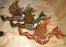 """Naga Bali Dragon Flying Hanging LARGE 16"""" made in Bali wood GREEN or RED"""