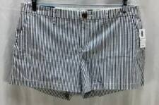 Old Navy Shorts Large 12 Blue WHite Pinstripe Flat Front Mini Mid Rise New 3708