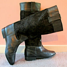 Paolo Leone Vtg 'Portugal' Bk Leather/Tapestry Knee Hi Low Heel Boots 7N/M Euc